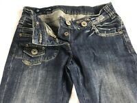 Easel Jeans Womens Small Button Fly Denim 30 x 30 Actual Pants Distressed Boot