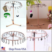 Jewelry Tree Rotating Ring Display Holder Organizer Necklace Stand Rack 23 Hooks