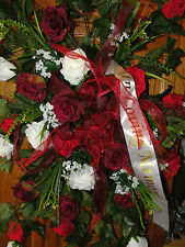 Cemetery Grave Red Burgundy White Roses Sheath on Stand In Loving Memory Flowers