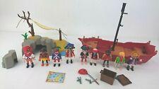 Playmobil Pirate Figure x 9 Pirate Ship & Island With Hammock Bundle
