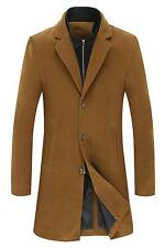 Men's Thermal Half-Zip Single-Breasted Slim Fit Wool-Blend Trench Coat - D-Cml M