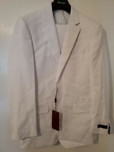 Renoir Classic Fit Solid White Two Button Blazer Sportcoat And Pant 36R 30W