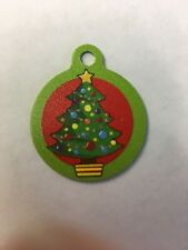 """Christmas Tree Winter Themed Pet Charm Cat Dog Tag for Your Pet, Green 1.25"""""""