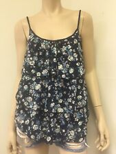 """Delia""""s Floral  Print  Ruffle Lace  Solid Blue Back Tank Top Camisole Stretch"""