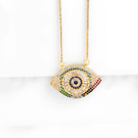 Evil Eye Mother-of-Pearl Turkish Luck Charm 18K Gold Plated Necklace Pendant