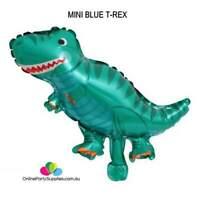 Mini Blue T-Rex Dinosaur Shaped Foil Balloon Jurassic World Jungle Animal