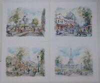 Set Of 4 Paris Watercolor Art Prints By Legai - La Tour Eiffel, Notre Dame