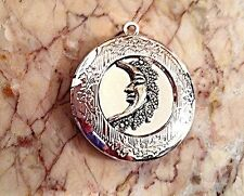 "CRESCENT MOON PHOTO LOCKET silver on sterling 18"" chain necklace"