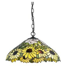"Tiffany Style Sunflower Hanging Lamp Stained Glass 18"" Shade Handcrafted"