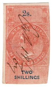 (I.B) New Zealand Revenue : Stamp Duty 2/- (interlaced watermark)