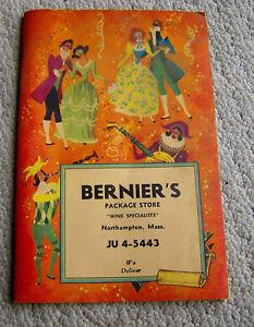 RARE vintage 1965 BERNIER'S PACKAGE STORE catalog Northampton OLD LIQUOR BOTTLES
