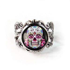 Pink Day of the Dead Sugar Skull Girl Punk Skeleton Silver Ring