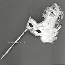 Venetian Women Silver White  Masquerade Costume Prom Wedding Party Stick Mask