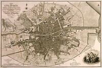 MAP ANTIQUE FADEN 1797 DUBLIN CITY PLAN OLD LARGE REPLICA POSTER PRINT PAM0898
