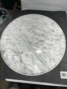 """Vintage Solid Replacement 24"""" Marble Table Top (Italy) White & Gray Veining"""