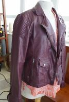 Tommy Hilfiger Leather Jacket Women's XL Size Leather Moto Jacket Red Wine