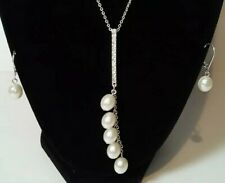 Saq by Avon Faux Pearl Earrings and Matching Rhinestone Faux Pearl Necklace