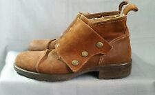 Gordon Rush Suede Ankle Boots Wide Snap Flap Closure Italian Made Brown Suede