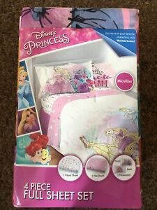 New Disney Princess 4 piece Full Sheet Set Microfiber Sheets Pillowcases Frozen
