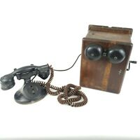 Antique 1914 Western Electric Telephone With Ringer Box OAK Finish