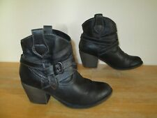 Gino Ventori Black Faux Leather Ankle Boots UK Size 6 (EUR 39)