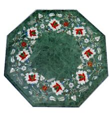 "12"" Green Marble  Table Top Marquetry Multi Stone Inlay Work"