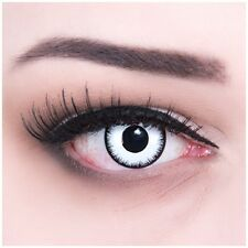 "Coloured Contact Lenses White ""Lunatic"" Contacts Color for Carnival + Free Case"