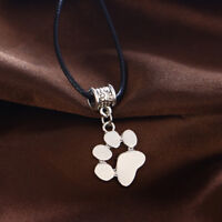 Dog Cat Pet Paw Heart Necklace Pendant Leather Cord Charm Choker Memorial Gift