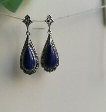 Genuine natural blue drop lapis lazuli in sterling silver stud earrings S42x16mm