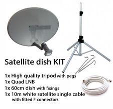 Sky Satellite Dish Quad LNB & Tripod Stand Kit Portable Camping Caravan Freesat