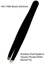 Sharp Edge Stainless Steel EyeBrow Tweezers Plucker/Puller Slanted Tip black NEW