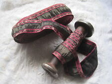 Vintage Ribbon Trim, French Black And Red Metal And Silk Fancy Shiny 1 Yard