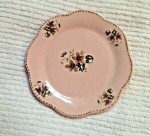 """Wall Plate VINTAGE Pink Porcelain 5"""" Plaque Decorated with Purple Violets"""