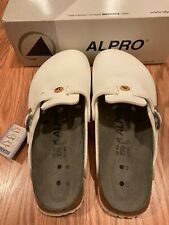 NIB ALPRO by Birkenstock 270 White Leather Shoes Slip On Sandals Size 42 US 9