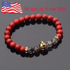 Fashion Red Turquoise Agate Gold Helmet Healing Balance Charm Men's Bracelets