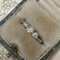 Antique 18ct Gold Platinum White and Yellow Diamond Ring 0.64ct UK L