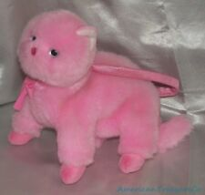 "2004 Ty Pinkys Plush 9"" Fluffy Candy Pink Chic The Kitty Cat Purse Zipper Pouch"