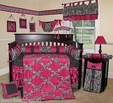 Baby Boutique - Hot Pink Zebra - 15 pcs Nursery Crib Bedding Set