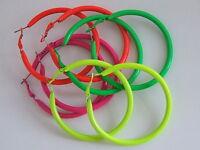 Neon Coloured Funky Retro 60s 70s 80s 60.0mm Hoop Dangle Earrings Choose Colour