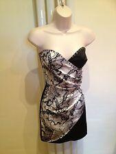 H & m superbe sexy bustier bandeau noir et argent sweetheart robe taille 8