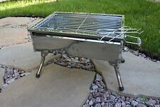 stainless steel charcoal grill kebab bbq portable mangal 10 skewers666 - Stainless Steel Charcoal Grill