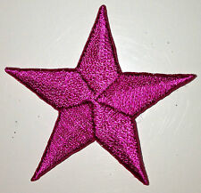 HOT PINK 1/2 inch iron on star patch applique patches kid embellishment - 233