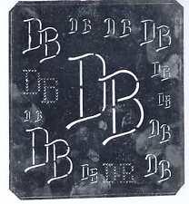 Große Monogramm Schablone DB Jugendstil Weißblech 16,5 x 18 cm Weissstickerei
