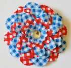 """4.5"""" Patriotic Red White Blue Gingham Peony Artificial Silk Flower Hair Clip #2"""