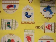 BIRDS IN CAGES BIRD CAGE YELLOW COTTON FABRIC FQ OOP