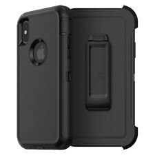 For Apple iPhone XS Max Defender Case Cover w/(Belt Clip Fits Otterbox) BLACK
