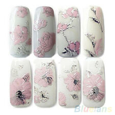 3D Embossed Pink Flowers Design Nail Art Decal Tips Stickers Sheet Manicure 1#