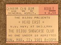 Head East Sunday March 22, 1981 Concert Ticket Stub at The Bijou Showcase Club