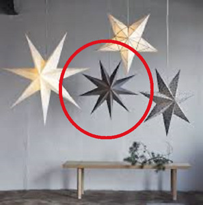"IKEA STRÅLA 9 Point Star Lamp Shade Strala Light Pendant 30""Paper Cardstock Gray"
