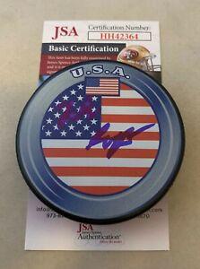 Luke Hughes New Jersey Devils signed Team USA Puck autographed JSA